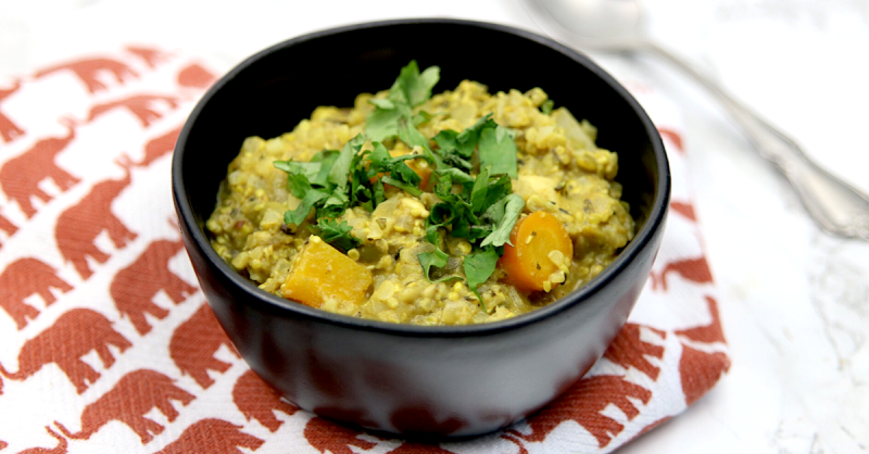 Vegan Keto Kathmandu Curry | MeatFreeKeto.com - This vegan keto curry is based on my favorite camping and hiking meal and is low carb, paleo, gluten-free, soy-free, nut-free, egg-free and dairy-free.