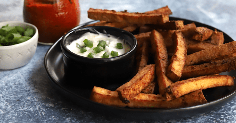 a plate of vegan keto tofu fries with dipping sauce