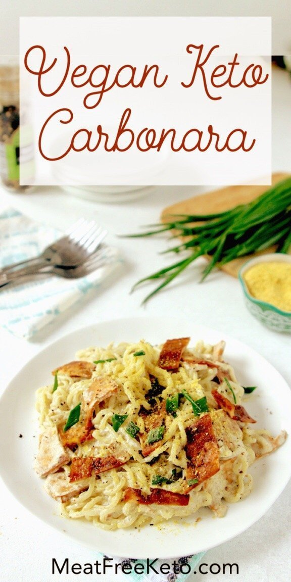 a plate of shirataki noodles with vegan carbonara sauce and tofu bacon pinterest cover image