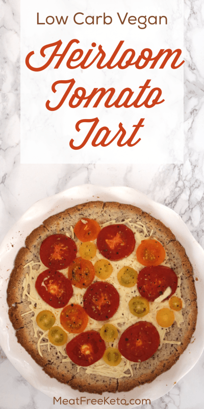 Low Carb Vegan Heirloom Tomato Tart | Meat Free Keto - This low carb vegan tomato tart is the perfect gluten free, soy free, nut free way to enjoy heirloom tomatoes this summer.