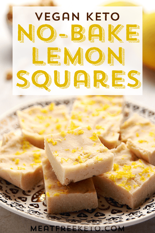 a plate of no-bake vegan keto lemon squares with lemons and macadamias
