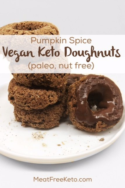 Pumpkin Spice Vegan Keto Doughnuts (nut free, paleo)   A delicious, low carb vegan donut - made with coconut flour!