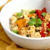a bowl of tomato tofu stirfry 番茄豆腐
