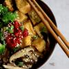 a bowl of vegan keto bibimbap: gochujang, broccoli, crispy tofu and shiitake musrooms