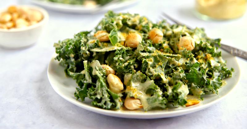 Vegan Keto Kale Caesar Salad (gluten-free, nut-free, coconut-free)