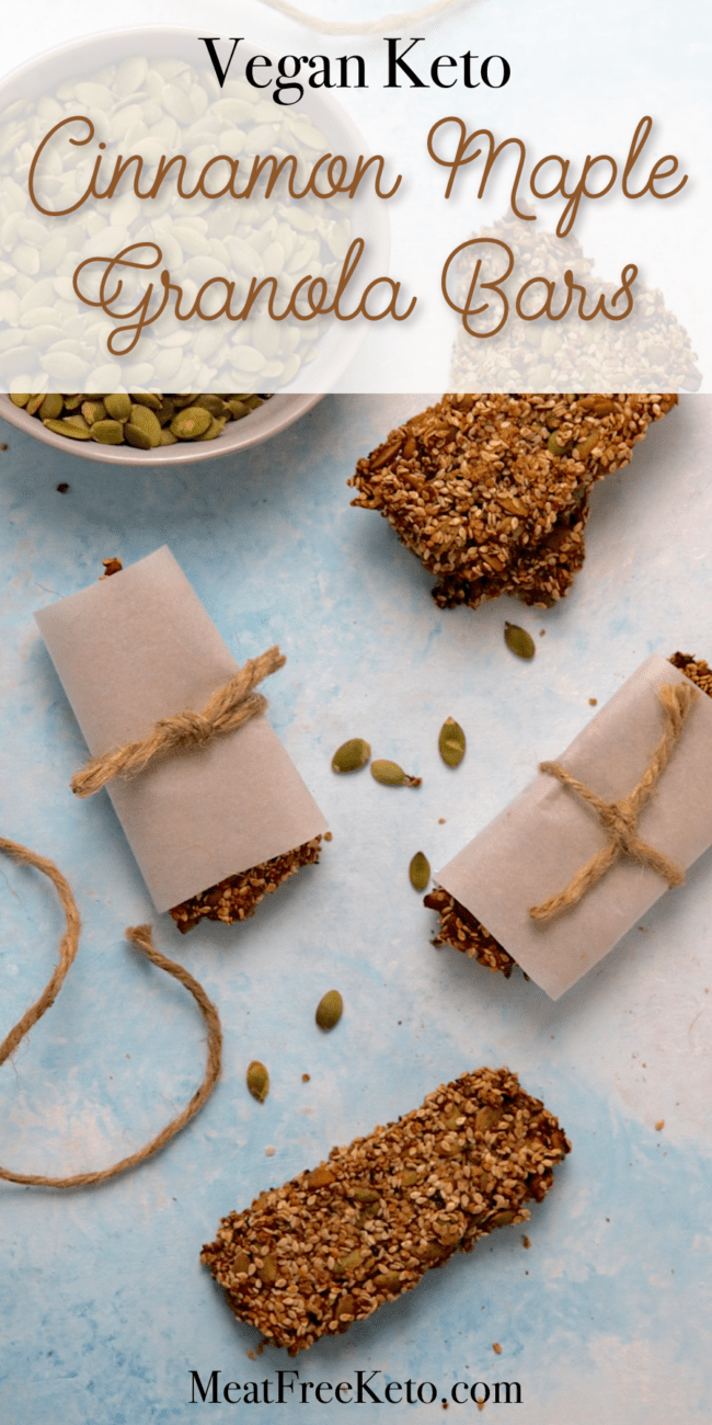 Vegan Keto Cinnamon Maple Granola Bars | MeatFreeKeto.com - These vegan keto maple breakfast bars pack a lot of fiber, protein and omega-3 fatty acids into a nut-free, gluten-free and low carb package.