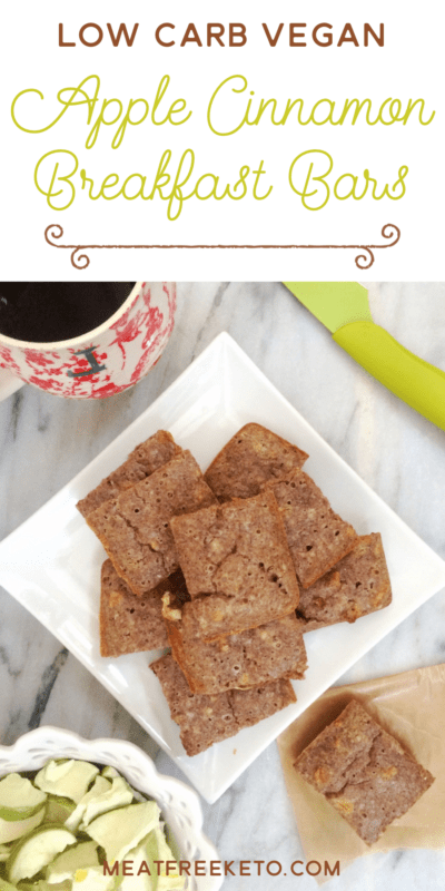 Low Carb Vegan Apple Cinnamon Breakfast Bars   Meat Free Keto - These gluten free, low carb vegan breakfast bars are super easy to make and are soy free, sugar free, dairy free and egg free.