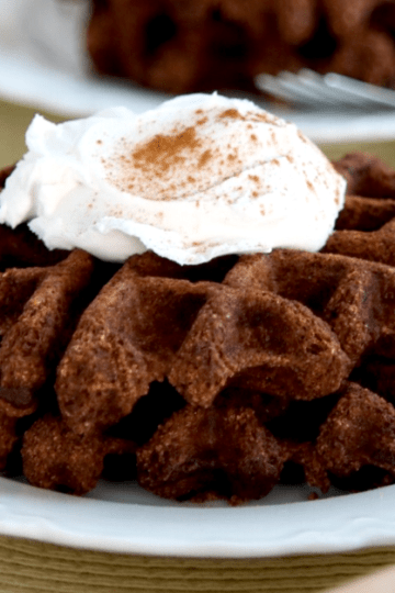 Vegan Keto Chocolate Waffles | MeatFreeKeto.com - These vegan keto chocolate waffles are a delicious low carb breakfast treat! They're also sugar-free, gluten-free, nut-free, egg-free, dairy-free and soy-free