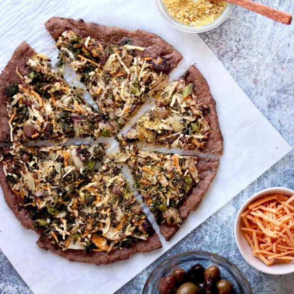 Vegan Keto Spinach Artichoke Pizza (gluten-free, nut-free, soy-free)