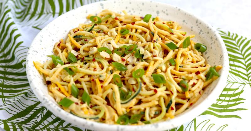 Low Carb Vegan Peanut Ginger Cold Noodle Salad (gluten-free, grain-free, keto-friendly)