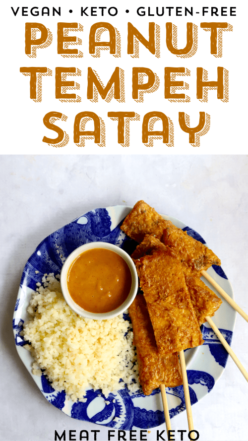 pinterest image for vegan keto tempeh satay with peanut sauce