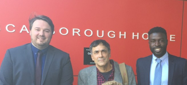 Chris Armstrong, David Tuller and Fane Mensah standing outside the Department of Health