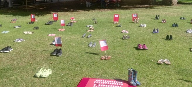 Shoes laid out on grass in Freemantle for Millions Missing