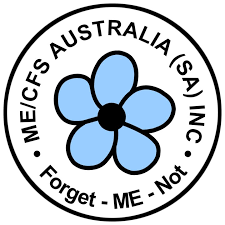 ME/CFS Australia (SA) logo with a blue forget-me-knot flower