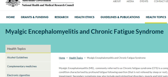 screenshot of NHMRC website