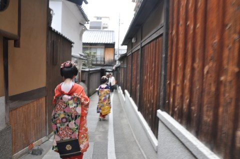 The Geishas walking