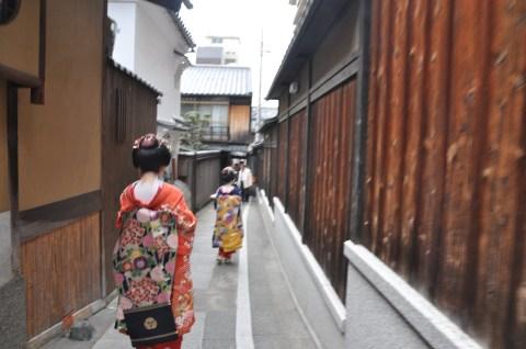 The Geishas walking