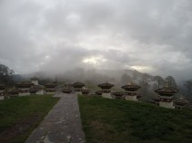 The Chortens in the mist at Dochula pass