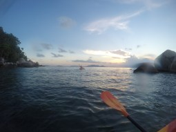 Kayaking during the sunset