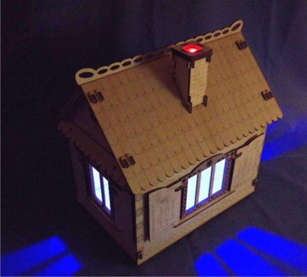 Кукольный домик с мебелью и освещением