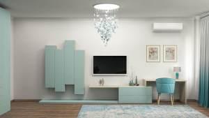 современная гостиная в цветах tiffany