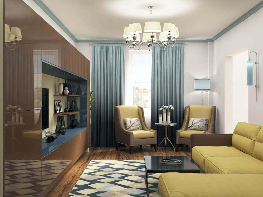 современная контрастная гостиная в эмали глянец