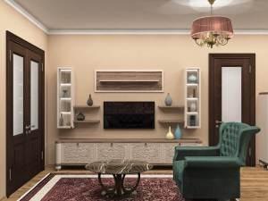 Гостиная в стиле арт деко в кремовых оттенках