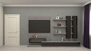 гостиная в черных и серых оттенках в современном стиле