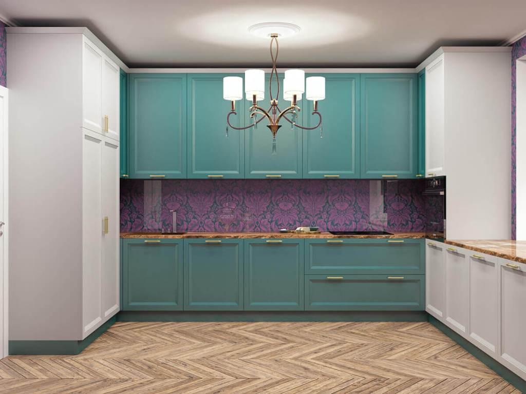 Кухня в стиле современная классика в серых и зеленых оттенках фотография 3