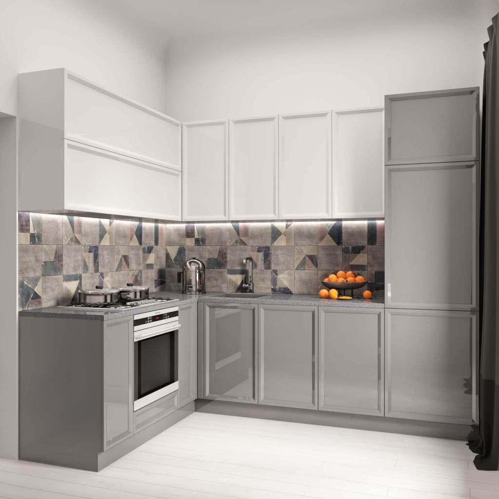 кухня в современном стиле с глянцевыми фасадами