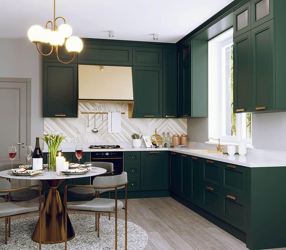 кухня в зеленом цвете современная классика