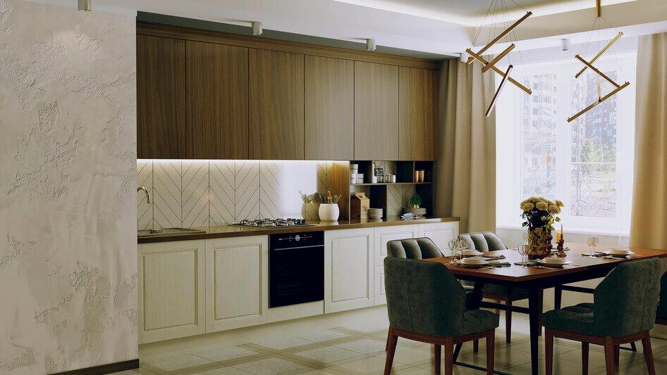 Современная прямая кухня в шпоне и эмали