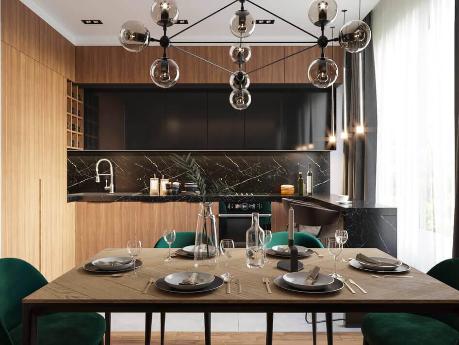 кухня в стиле модерн с использованием черной эмали и шпона дерева