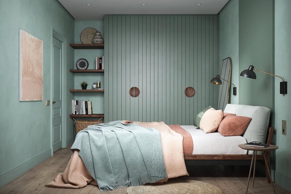 Спальня MONACO в мятных тонах