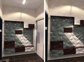Прихожая 4 в современном стиле с 3д стеновой панелью в серых тонах фото 2