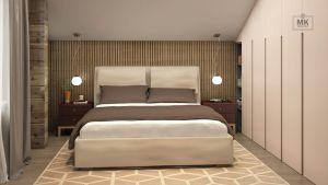 спальня в современном стиле с использованием массива дерева и эмали