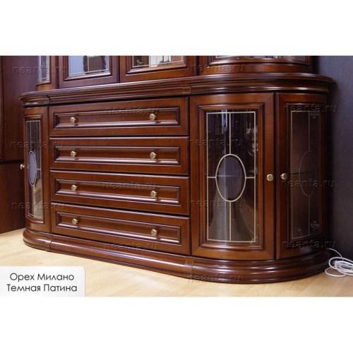 Комод полукруглый со стеклянными дверями  (стекло-полки