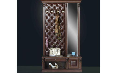 Вешалка с обувницей, 4 крючками и зеркалом Б5.11-9 Орех/Коричневый