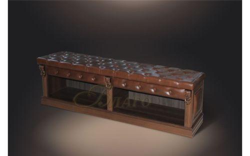 Банкетка-обувница с нишей Б5.2 Орех/Коричневый (к модулю Б5.10-3)