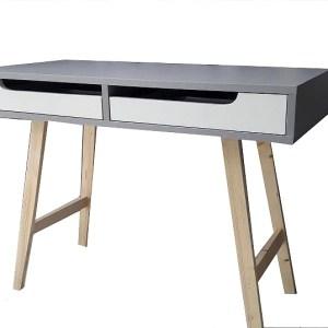 biurko z szufladami szare madera