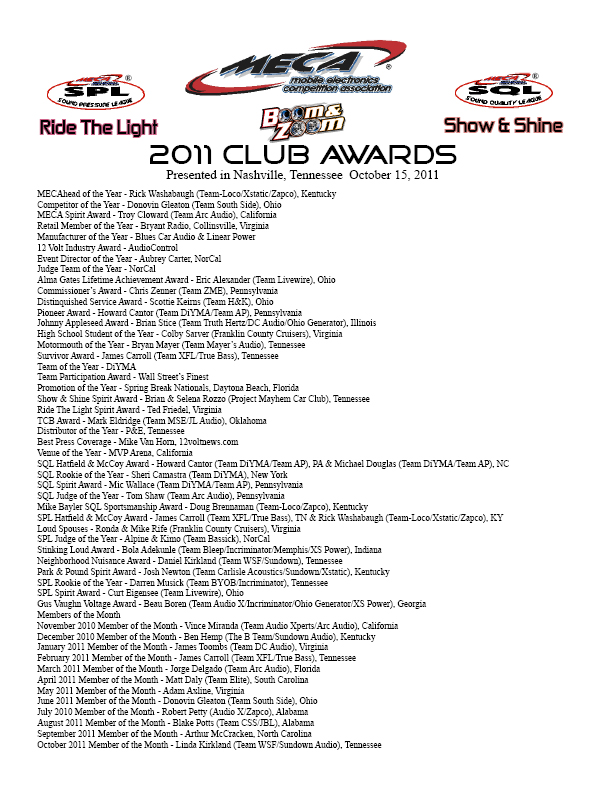 2011 MECA Club Awards