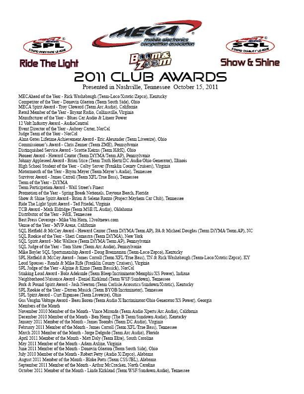 2011 MECA Club Awards