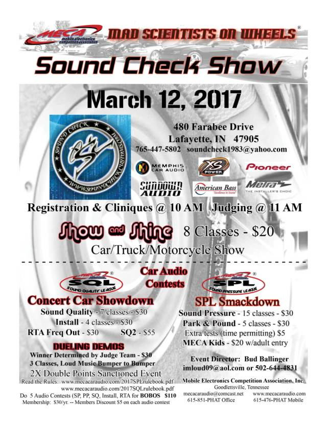 Sound Check Show 3/12/17 – MECA – Mobile Electronics Competition