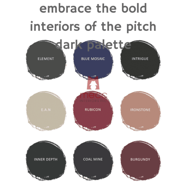 embrace the bold interiors of the pitch dark palette | @meccinteriors | design bites