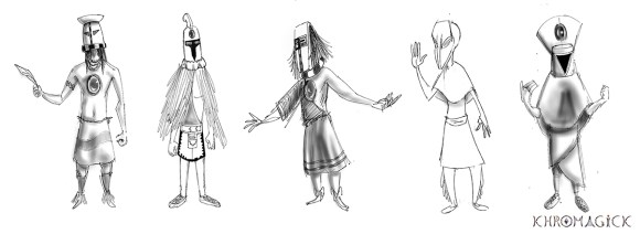 Main character design exploration sketches
