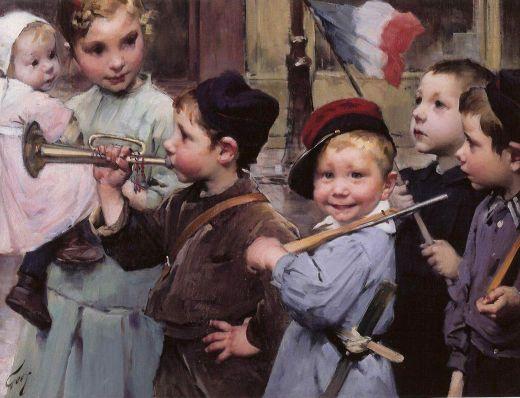 """Jean Geoffroy """"Geo""""(1853-1924), Le 14 juillet des petits écoliers Huile sur toile, (46 x 61 cm)"""