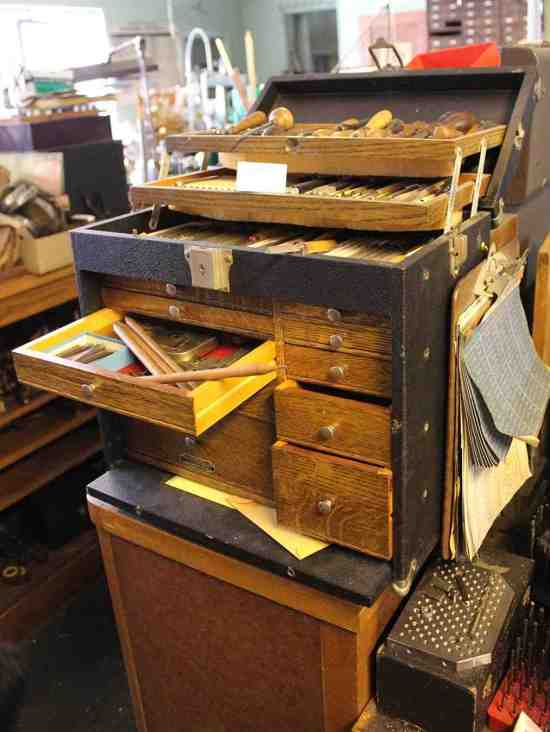 Old tool box filled with gravers