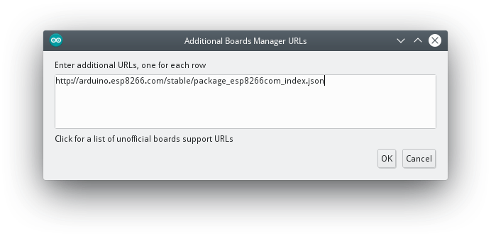 Arduino IDE - Additional Boards Manager URLs