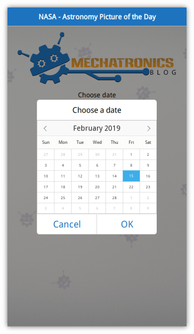 Calendar QML component