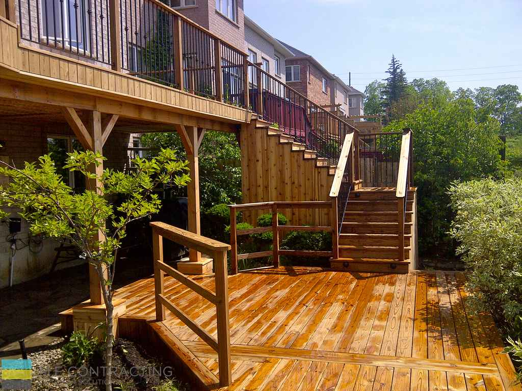 Cedar Deck With Pergola And Interlock Basement Walkout M